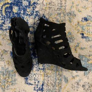BCBG Laser Cut Wedge Peep Toe Sandals